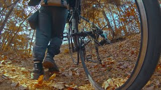gopro shot: slow motion-girl walking with raod bike through the forest during autumn