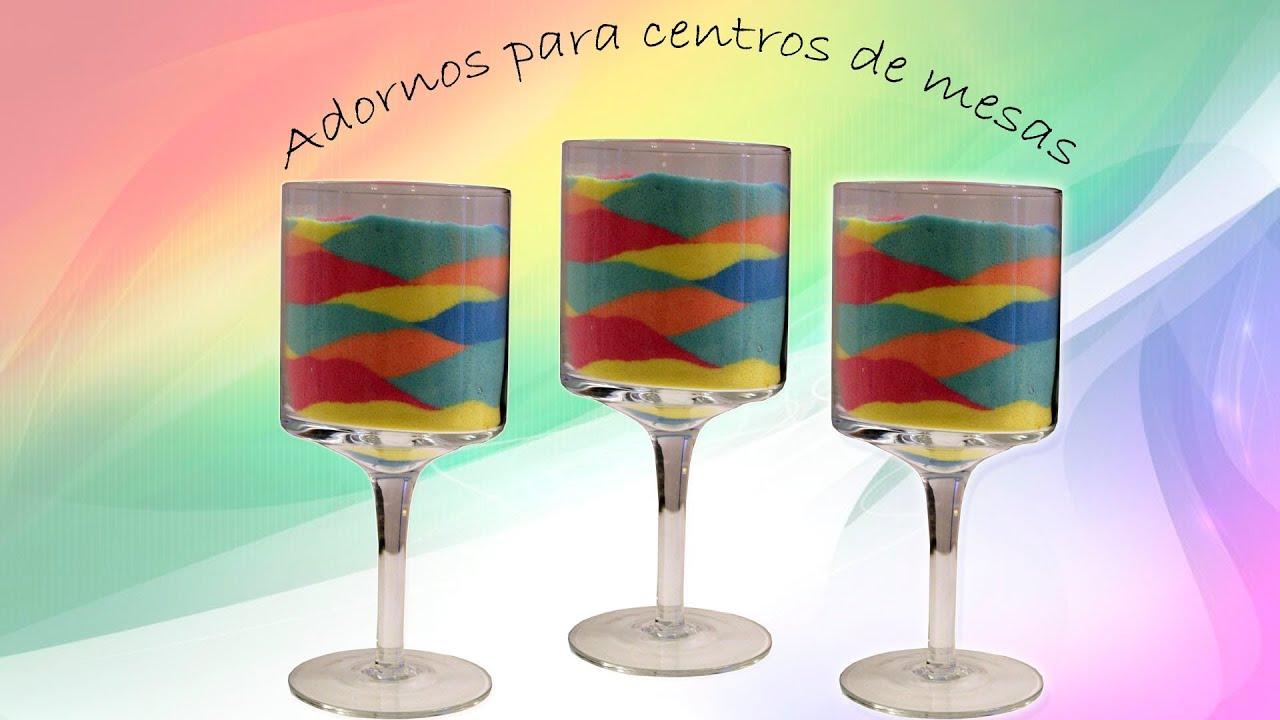 Centro de Mesa o Adorno con Copas. Como colorear la sal ornament