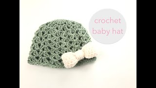 Crochet a baby hat with bow