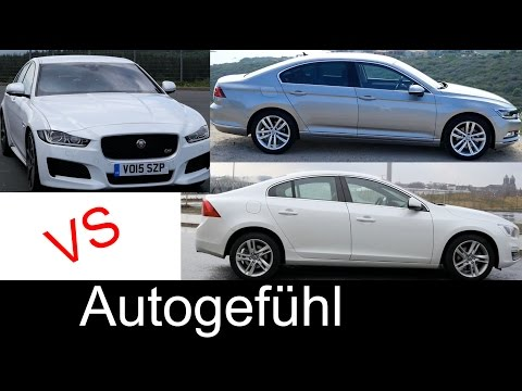 Best sedan comparison test review Jaguar XE vs Volkswagen Passat vs Volvo S60 - Autogefühl