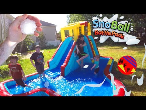 Snowball Fight In The Summer! Giant Inflatable Water Slide Fun With A Snoball Battle Pack
