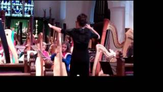 Faryl Smith with the International Harp Ensemble in rehearsal