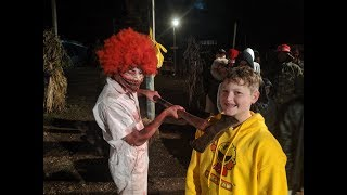 Getting Scared At The Haunted House On Halloween.
