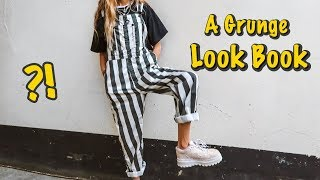 A GRUNGE LOOK BOOK  *how To Style Black Mom Jeans*