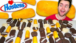 I Ate Hostess Desserts WHOLE MENU... Best & Worst! Twinkies, Donuts, Cakes Taste Test!
