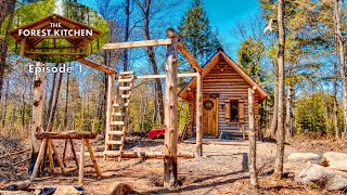 The Forest Kitchen Ep. 1 at the Off Grid Log Cabin Build, Timber Frame