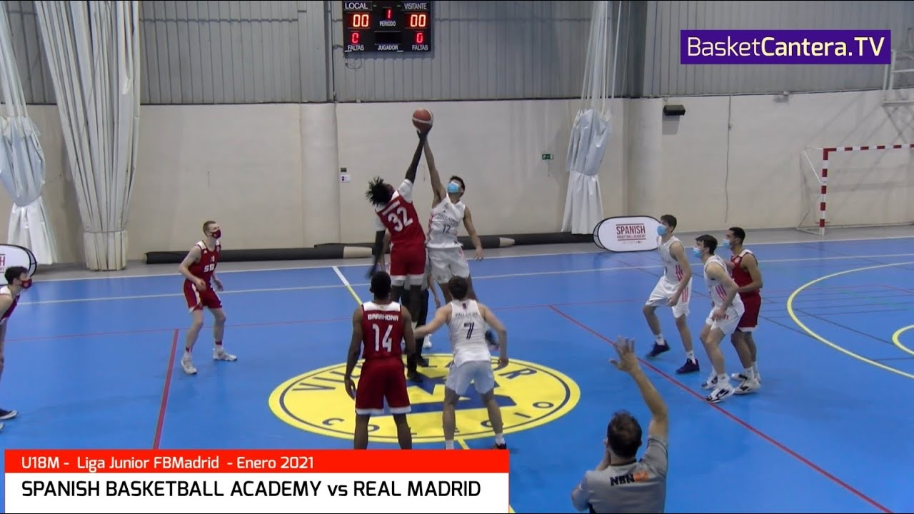 U18M - SPANISH BASKETBALL ACADEMY vs REAL MADRID. Liga Junior FBMadrid 28-1-2021 (BasketCantera.TV)