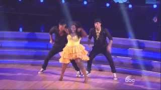 Derek Hough & Amber Riley with Mark Ballas dancing Salsa on DWTS 11 11 13