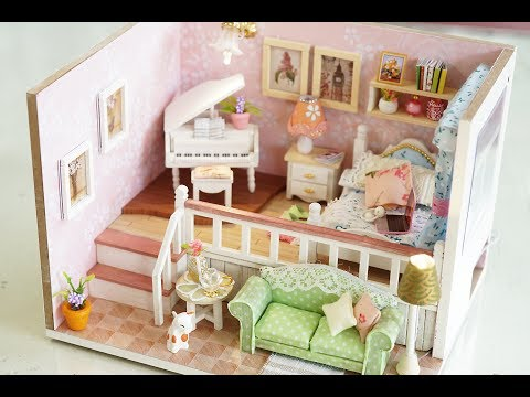DIY Girly Miniature Dollhouse kit with Furniture & Lights