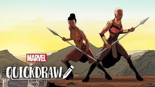 Artist Nelson Blake II draws the Dora Milaje – Marvel Quickdraw