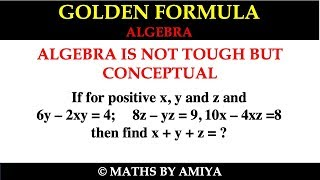 GOLDEN FORMULA LIVE :   ALGEBRA IS NOT TOUGH BUT CONCEPTUAL