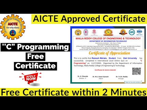 AICTE Approved Free Certification | C Programming Free ... - YouTube