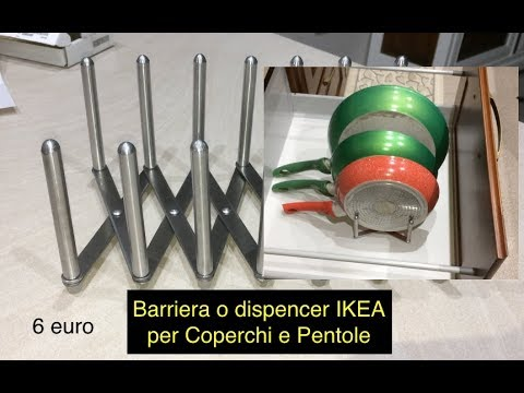 Barriera o dispencer IKEA per Coperchi e Pentole per ordinare cassettoni cucina