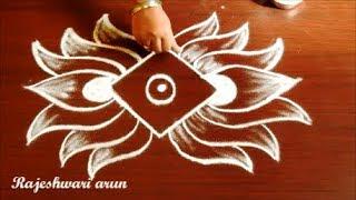 beautiful lotus kolam designs simple lotus rangoli design with dots easy muggulu with dots