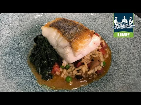 Chef Dominic Chapman cooks a hake with mushroom rice, chorizo and cockles recipe