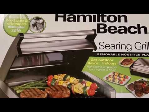 , Hamilton Beach (25361) Electric Smokeless Indoor Grill & Searing Grill with Removable Plates and Viewing Window