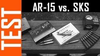 AR15 Vs SKS  Barrier Penetration Test