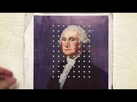 Guy stamps out squares from a large picture of George Washington to make a mini George Washington