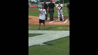 Evan Singing the National Anthem at the Zephyrs Game