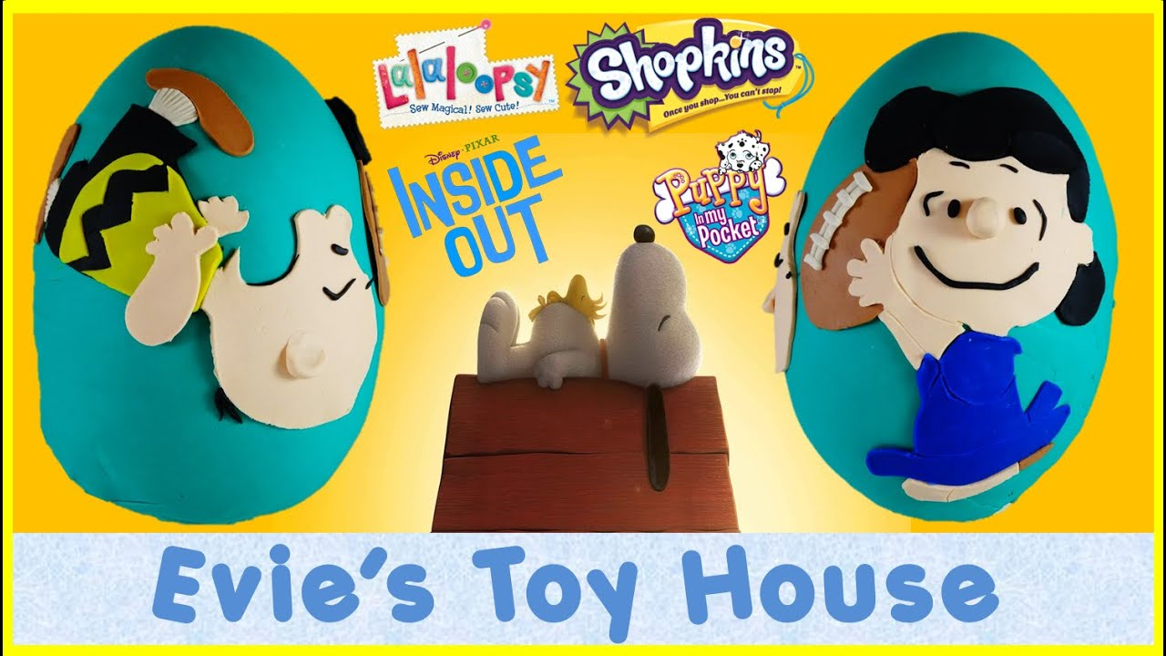 THE PEANUTS MOVIE Giant Play-doh egg with Lucy and Charlie Brown Football | Evies Toy House