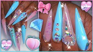 Pink & Blue Extra Long POLYGEL Full Set Stiletto | BIG NAIL ENERGY! 🔋