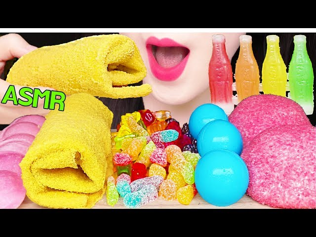 ASMR EDIBLE TOWEL CREPE CAKE, GUMMY JELLY, NIK-L-NIP, SNOBALLS 먹는 수건, 젤리, 닉클립 먹방 EATING SOUNDS