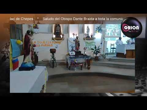 Bendición del Obispo Dante Braida para toda la comunidad de Chepes.