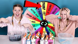 Mystery Wheel of DUMP IT Slime Challenge | Sis vs Sis | Taylor and Vanessa
