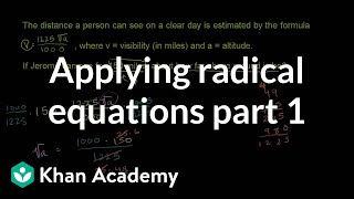 Applying Radical Equations 1