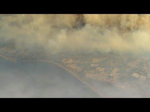 Aerial footage shows California Thomas wildfire path into Santa Barbara County