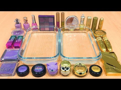 PURPLE vs GOLD   Mixing Makeup Eyeshadow into Clear Slime! Special Series #35 Satisfying Slime Video