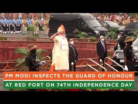 PM Modi inspects the Guard of Honour at Red Fort on 74th Independence Day