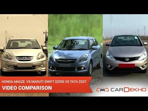 Honda Amaze vs Maruti Suzuki Swift Dzire vs Tata Zest | CarDekho.com