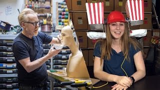 Adam Savage and Simone Giertz Make a Popcorn Machine!