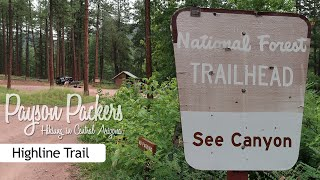 """We hiked a portion of the Highline Trail, form the See Canyon TH.  An """"in & out"""" hike that totals about 6.3 miles.  There will be scenic views, big trees, big manzanita, and huge outcroppings of red rock."""