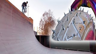 STUDDED MINI BMX RIDING IN FROZEN VERT RAMP!