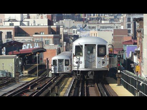 BMT Jamaica Line: R42 R143 J Train & R160A-1 J & M Trains at Myrtle Av-Broadway (Weekend)