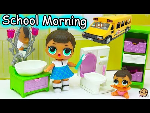 LOL Surprise Big & Lil Sisters School Day Morning Time Routine - Eat Breakfast, Brush Teeth