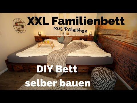 Bett selber bauen | Palettenbett DIY | XXL Kingsize Familienbett | Doppelbett aus Paletten Anleitung