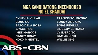 14 Senate bets inendorso ng grupong El Shaddai | TV Patrol