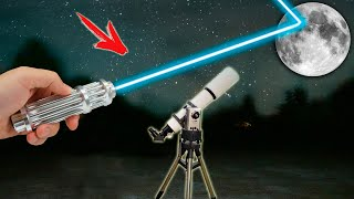 EXPERIMENT LASER ATTACK at the MOON.. LOOKING through a TELESCOPE