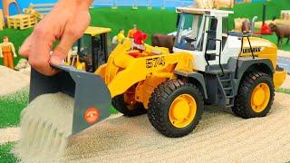 Rohrbau mit Abroll Container,Lastwagen,Bagger,Lkw und Baustellen Spielzeug von Bruder für Kinder
