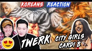 [ENG SUB]🔥  KOREAN BOYS React To CITY GIRLS Ft. CARDI B   TWERK