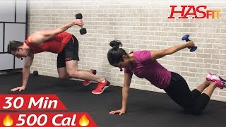 30 Minute HIIT Workout for Fat Loss & Strength - Dumbbell Full Body HIIT Home Workout with Weights by HASfit