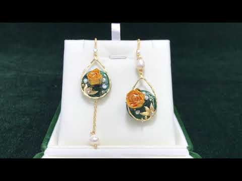 Floral Dangle Earrings with Real Flower & Pearls