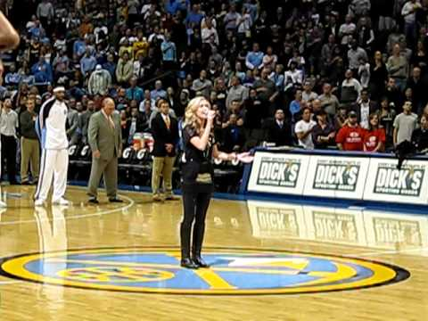 Jordan Shelton singing the National Anthem at Nuggets Game