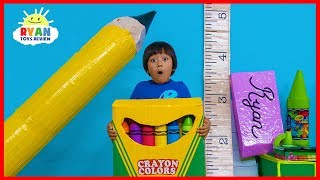 Ryan Pretend Play Magical Giant School Supplies Back To School!!!!