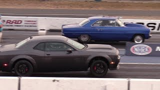 9.83s stock Dodge Demon 1/4 mile drag race