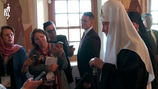 После посещения Ферапонтова монастыря Патриарх Кирилл ответил на вопросы журналистов