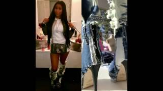#NickiMinaj slays #AngelBrinks Fashions, denim boots! #BBWLA 5 star made custom shoes for Nicki!